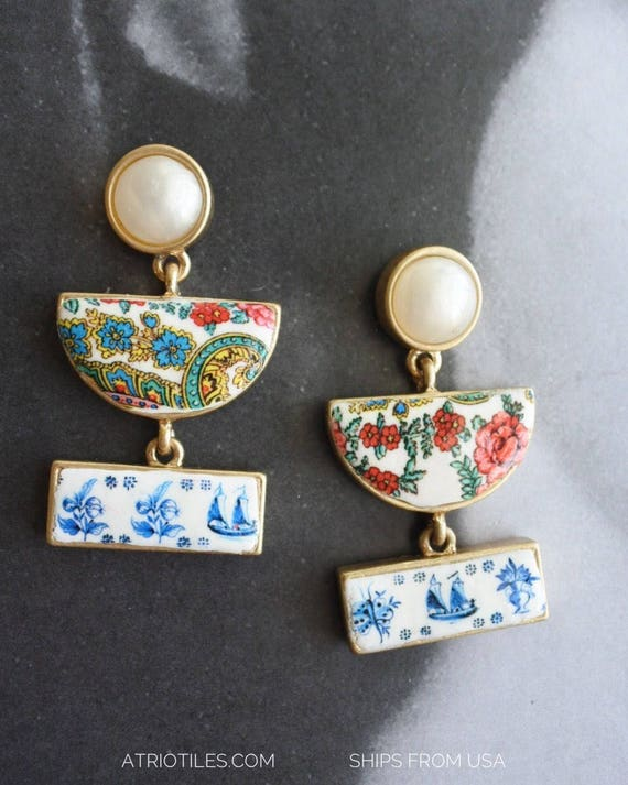 """Earrings Portugal Tile Azulejo Delft - 1837  Pasteis de Belem Delft Style - 1 3/4""""  with Viana Folk Pashmina Downy Russian Ships from USA"""