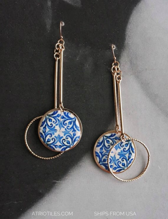 Earrings Portugal Tile Azulejo Blue AvEIRO Santa Joana Convent 1458 - Gift box included Dangle Hoops Delicate Rose Gold