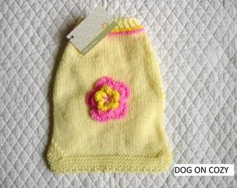 Button Dog Sweater, Handknit Pet Sweater, Size SMALL, Yellow Jumper