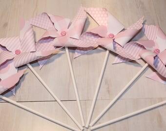 NEW - Pastel Pink or Brite Pink Dots, Stripes & Plaids Pinwheel Collection (Qty 12) Pastel Pink Pinwheels, Brite Pink Pinwheels, Pinwheels