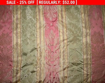 Antique French Silk Fabric Damask Pillow