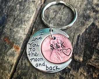 I love you to the moon and back Penny hand stamped keychain- Gift for him-Gift for her