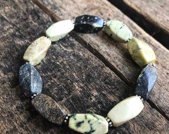 Serpentine Gemstone Beaded Stretch Gemstone Bracelet- Gift for her- Gift