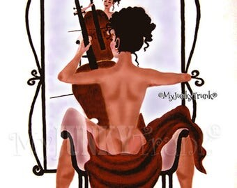 1/2 Price OVERSTOCK Sale- Cello- African American Art Natural Hair Art Black Art Black Woman Print