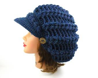 Crochet Newsboy Hat - Blue Mist Cap - Slouchy Tam With Visor - Brimmed Beanie - Cap With Buttons - Puff Stitch Hat - Women's Hat