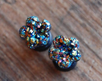 Choose Color and Size| 6g (4mm), 2g (6mm)4g (5mm) 0g (8mm) | Faux Druzy Rough Flower Floral Crystal Plugs|Gauges for stretched lobes