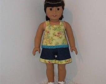 "Jean Shorts and Yellow Tankini Top, Fits 18"" Dolls // AG Doll Clothes, AG Doll Summer Set, American Girl Denim Shorts, Sleeveles Shirt"