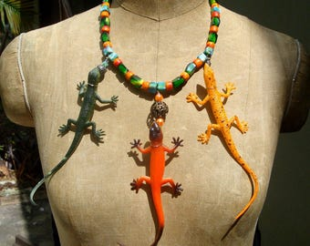 SALE, Geckos & LIzard  Necklace,  Art To Wear Creepy Crawler Eft Salamanders with Vintage Glass Beads, OOAK by Rachelle Starr 2015