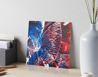 Encaustic Blue Red Abstract Art Board / Art for Small Spaces / Collectible Small Format Art / Made to Order in 3 Sizes
