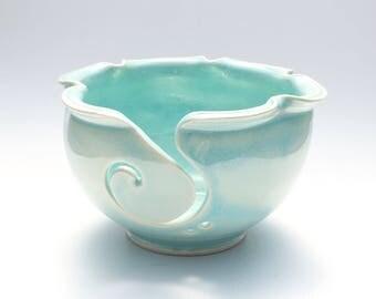 Handmade Pottery Knitting Bowl // Yarn Bowl in Aqua Blue