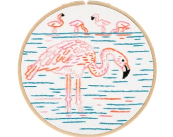 FLAMBOYANT FLAMINGOS embroidery kit - hand embroidery kit, diy kit, flamingo embroidery by StudioMME