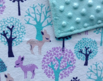 "Baby Blanket Minky and Flannel, 30""x38"" Toddler, Crib, Deer, Aqua and Lavender"