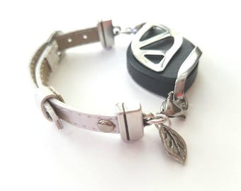 Bellabeat Leaf Bracelet Ultra THIN White, Pink, Baby Blue, Red, Black high quality leather band .925 sterling silver leaf