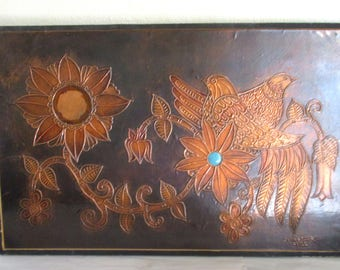 Vintage Hammered Copper Panel with Flowers Birds Made in Chile by C. Vasquez Rustic Primitive Folk Art