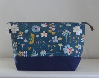 Wildflowers in Blue Large Zipper Knitting Project Craft Wedge Bag with Detachable Wrist Strap- READY TO SHIP