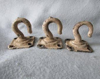 3 Old Architectural Nautical Hooks, Antique Architectural Hardware