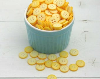 Yellow Gingham Buttons / Plaid Sewing Buttons / Craft Supplies / Sewing Supplies / Scrapbooking Buttons / Cute Button Pack / Kids Craft