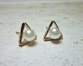 Pearl with Triangle Stud Earrings, Dainty Earrings