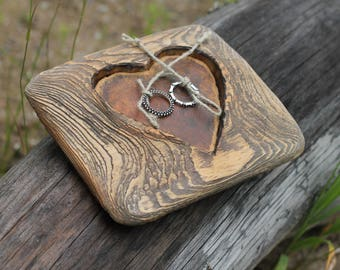 Rustic wood ring bearer pillow with heart for rustic wedding
