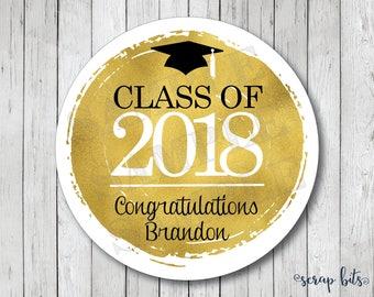 Personalized Faux Gold Foil Graduation Stickers, Class of 2018 Stickers, Graduation Tags, Graduation Labels