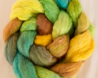 Hand dyed tops, Kid mohair, BFL, combed tops, spindling, hand dyed spinning wool, felting material, Handspinning, spinning fibre, Fiber