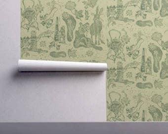 Wallpaper, Poison Paint design in Dartmoor green