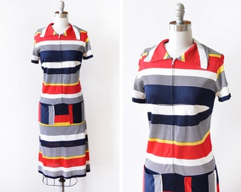 mod striped dress, vintage 60s mod dress, red + navy + white + yellow striped zip up dress, 1960 mod scooter dress, 70s dress, small medium