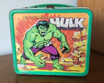 Vintage The Incredible Hulk Metal Lunchbox Retro 1970s Marvel Comics Super Hero Original TV Show Cartoon Toy Lunch Box
