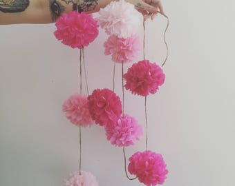 PINK OMBRE tissue paper pompom garland bunting valentines day engagement wedding decorations first birthday high chair cake dessert table