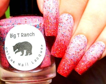 "Red Thermal Nail Polish - 4th of July - Red, Blue and Silver Holographic Glitter - ""FIREWORKS"" - Hand Blended - 0.5 oz Full Sized Bottle"