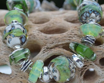 Reserve for Cheryl-MELLOW MEADOWS-Handmade Lampwork and Sterling Silver Bracelet