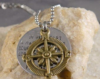 Proverbs 16 9 Inspirational Compass Handstamped Necklace