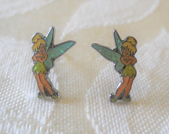 Signed Disney Tinkerbell Post Pierced  Tiny earrings