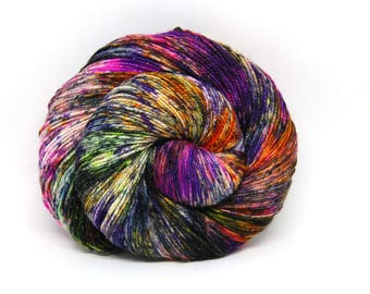 "Glam Rock Sparkle Sock Yarn - ""BamBOOzled"" -  Handpainted Superwash Merino - 438 Yards"