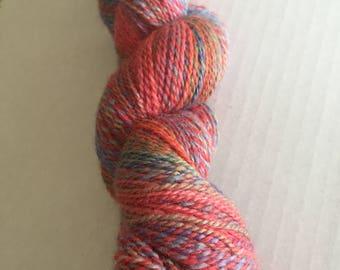 DESTASH:  A Stash Addict Rainbow Handspun Superwash BFL Blue-Faced Leicester Sock / Light DK Yarn