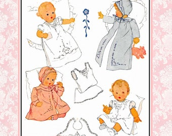 Vintage 1944-DARLING BABY LAYETTE-Sewing Pattern-Long--Short Dress-Matching Coat- Slip-Bib-Cap-Lace Trim-Embroidery Transfer-One Size-Rare