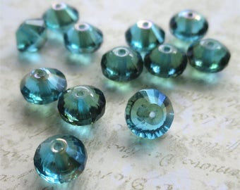 Aqua teal flying saucer faceted pressed Czech glass beads 10mm