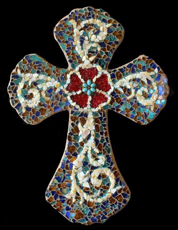 Mosaic Wall Cross Made with Reflective Fire Glass and Mother of Pearl Ready to Ship