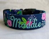 Personalized-Embroidered-Choose Buckle or Martingale Dainty Petals on Navy Blue-Dog Collar-Small-Large Breed Dog-1 inch 1.5 -2 inch width