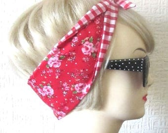 Rose Hair Tie Shabby Chic Red and Polka Dot Rockabilly Head Scarf by Dolly Cool Mini Ditsy Tea Rose Gingham