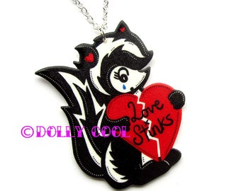 Skunk Necklace by Dolly Cool Super cute and Kawaii Retro Vintage 50s Valentine Style
