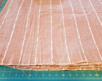 Light Tan Cotton Chambray type with woven stripe sold BTY