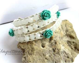 Faceted Beads Bracelet, crafted, Woman, white, teal, Pink for her, gift girl, bride, chan luu style,
