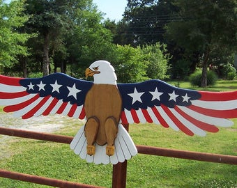 Patriotic Proud American Eagle Hand Crafted Yard Art Decoration