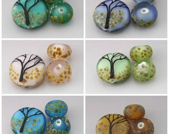 SRA Lampwork Bead Pair Tree Beads Fall Beads Autumn Beads Etched Lampwork Beads Artisan Glass Beads Pink Purple Blue Green Heather Behrendt