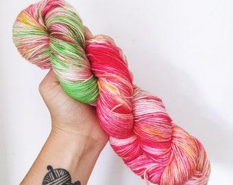 Strawberries - Hand dyed 4ply/sock yarn 100g/400m superwash merino, nylon blend