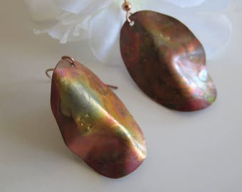 Colored Copper Dangle Earrings, Hand Shaped Drops, Fire Painted on Shepherd Hooks
