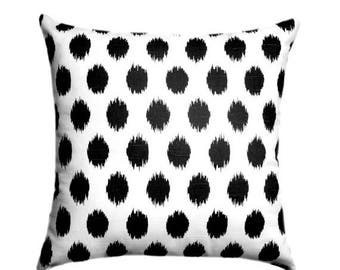 Black and White Pillow, Black Throw Pillow, Black White STUFFED Pillow, Black Polka Dot Pillow, Jojo Black Accent Pillow - Free Ship