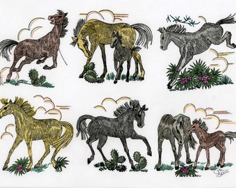 Vintage Hand Embroidery Pattern 7400 Horse Quilt Pattern 67 x 96 inch Reproduction iron on embroidery Transfers