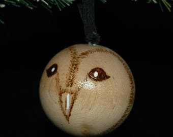 Owl Ornament - Wood Burned - Personalized - Solid Wood